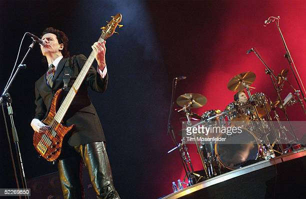 John Taylor and Roger Taylor of Duran Duran perform in support of the band's 'Astronaut' and 'Singles' releases at The HP Pavilion on March 2 2005 in...