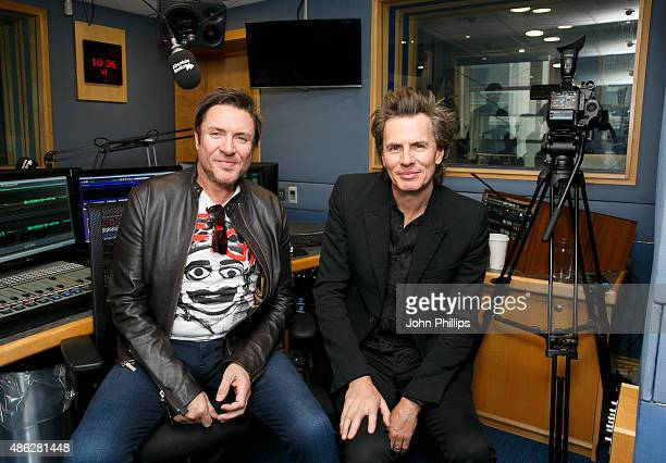 John Taylor and Simon Le Bon from Duran Duran visit Absolute Radio on September 3 2015 in London England