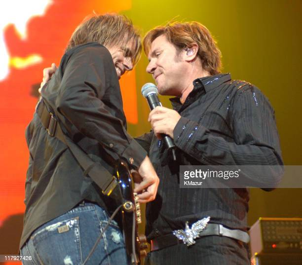 """John Taylor and Simon Le Bon of Duran Duran during The Andre Agassi Charitable Foundation's 10th Annual """"Grand Slam for Children"""" Fundraiser - Show..."""