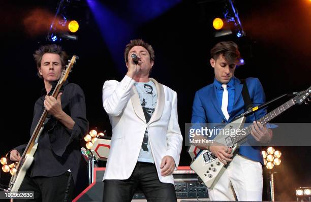 John Taylor and Simon Le Bon of Duran Duran joins Mark Ronson and the Business International on stage at Day 2 of Lovebox at Victoria Park on July 17...