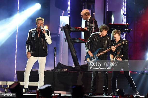 John Taylor Nick Rhodes Simon Le Bon and Roger Taylor of Duran Duran perform at the Milan Music Week World Stage ahead of the MTV EMA's 2015 at...