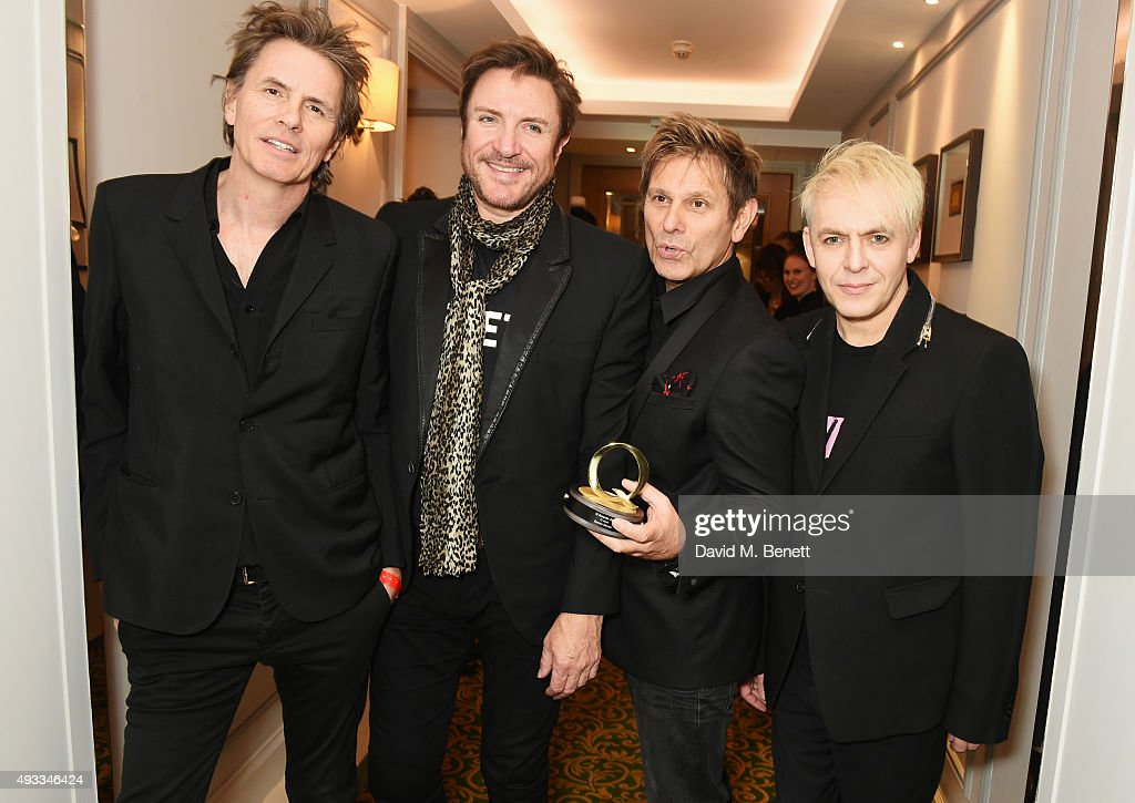 John Taylor, Simon Le Bon, Roger Taylor and Nick Rhodes of Duran Duran, winners of the Q Icon award, pose at The Q Awards at The Grosvenor House Hotel on October 19, 2015 in London, England.