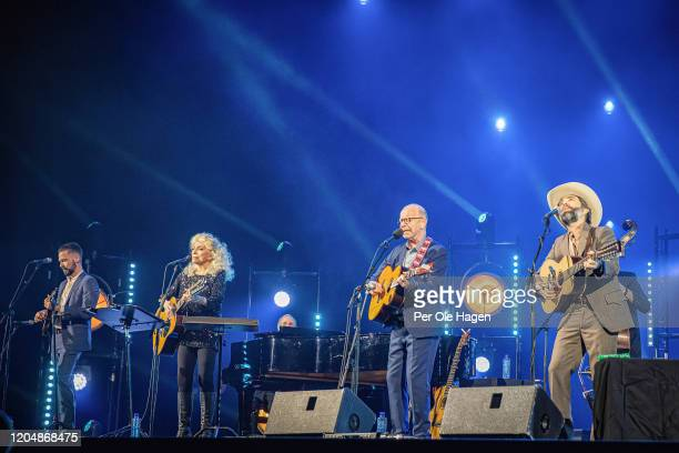 R John Teer Judy Collins Jonas Fjeld and Dave Watson perform Winter Stories on stage at The National Opera House in Oslo Norway