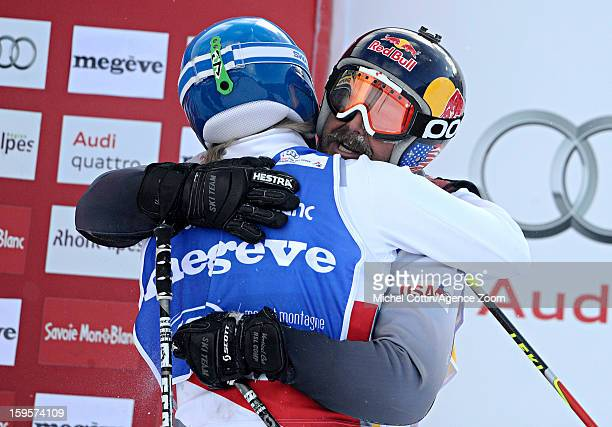 John Teller of the USA and Jouni Pellinen of Finland during the FIS Freestyle Ski World Cup Men's and Women's Ski Cross on January 16 2013 in Megeve...