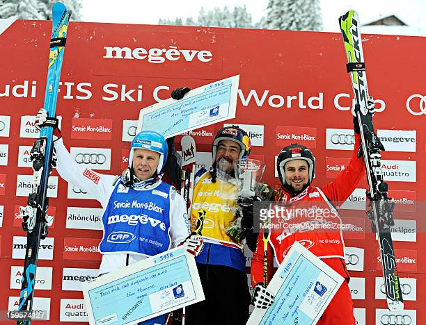 John Teller of the USA Jouni Pellinen of Finland Armin Niederer of Switzerland takes 3re place during the FIS Freestyle Ski World Cup Men's and...
