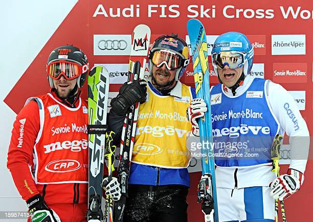 John Teller of the USA Jouni Pellinen of Finland Armin Niederer of Switzerland during the FIS Freestyle Ski World Cup Men's and Women's Ski Cross on...