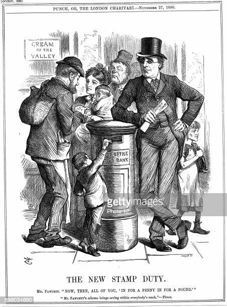 John Tenniel's cartoon concerning the Postmater General Henry Fawcett's introduction of the Post Office Savings Bank penny stamp savings scheme From...