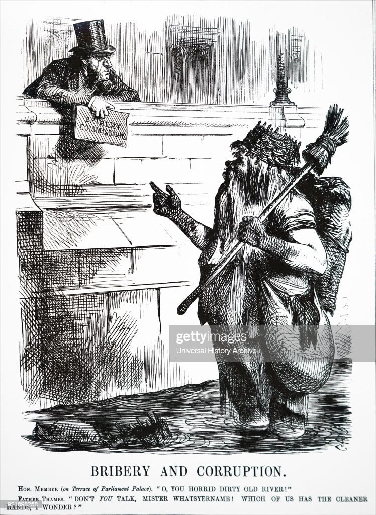John Tenniel's comment on the dirtiness of the River Thames. : News Photo