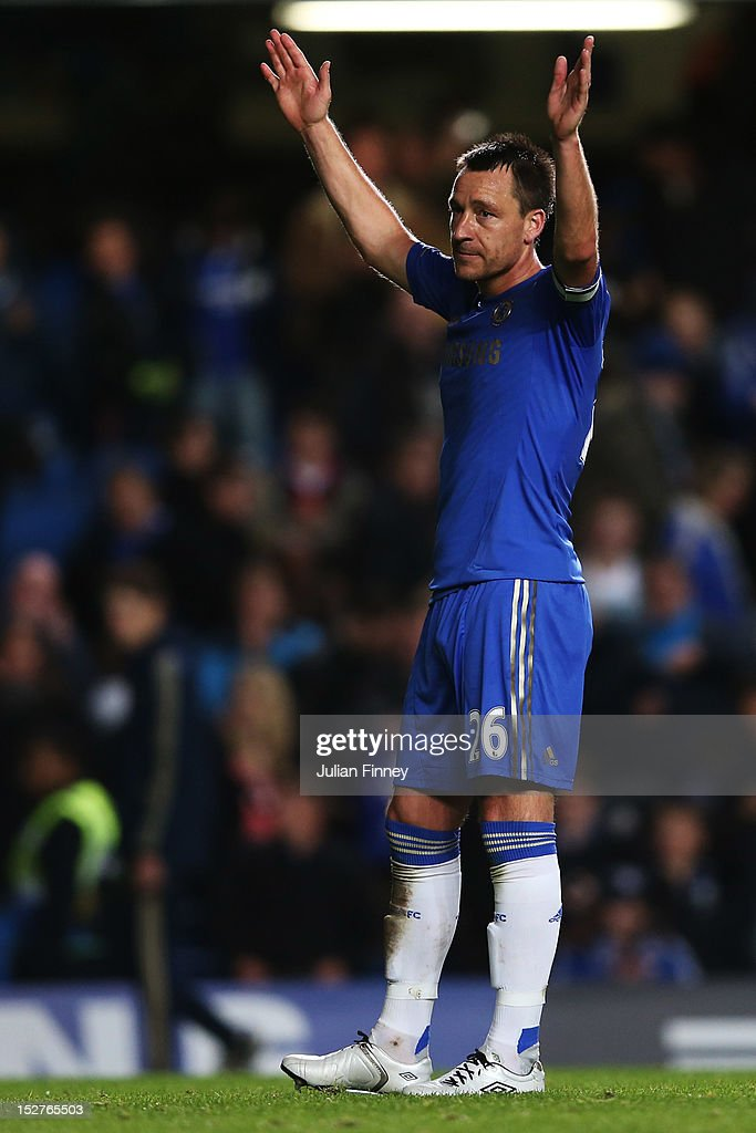 John Terry acknowledges the fans after the Capital One Cup third round match between Chelsea and Wolverhampton Wanderers at Stamford Bridge on September 25, 2012 in London, England.