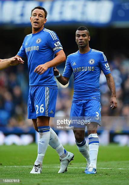 John Terry and Ashley Cole of Chelsea during the Barclays Premier League match between Chelsea and Norwich City at Stamford Bridge on October 6 2012...