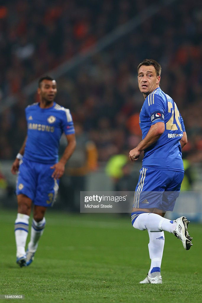 John Terry (R) and Ashley Cole (L) of Chelsea during the UEFA Champions League Group E match between Shakhtar Donetsk and Chelsea at the Donbass Arena on October 23, 2012 in Donetsk, Ukraine.