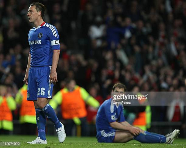 John Terry and Branislav Ivanovic of Chelsea show their disappointment at conceding a second goal during the UEFA Champions League QuarterFinal...