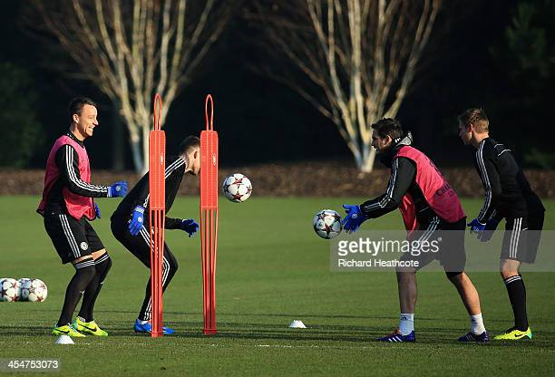 John Terry and Frank Lampard in action during the Chelsea FC Training session ahead of tomorrow's UEFA Champions League match against FC Steaua...