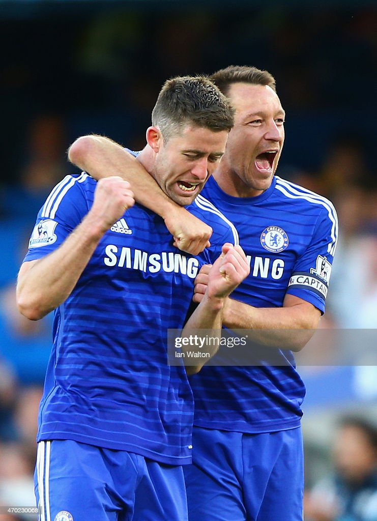 John Terry and Gary Cahill of Chelsea celebrate after the Barclays Premier League match between Chelsea and Manchester United at Stamford Bridge on April 18, 2015 in London, England.