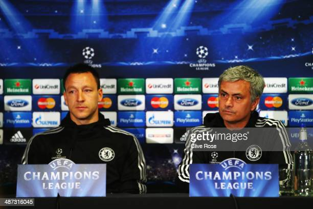 John Terry and his Chelsea manager Jose Mourinho talk to the media at the Chelsea press conference at Stamford Bridge on April 29 2014 in London...