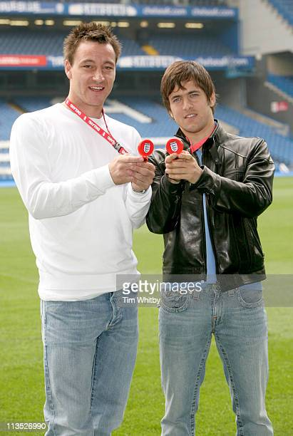 John Terry and Joe Cole during 'Match Master' The Interactive Hand Held Football Game Launch April 24 2006 at Stamford Bridge in London Great Britain