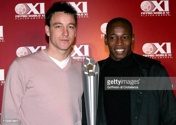 John Terry and Luis Boa Morte during Launch Of FIFPro World XI Player Awards at Home House in London Great Britain