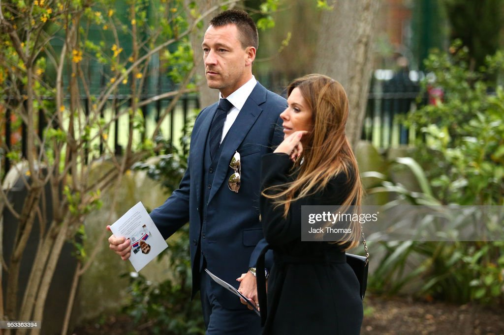 John Terry and wife Toni Terry leave St Luke's & Christ Church after the memorial held for Ray Wilkins on May 1, 2018 in London, England.