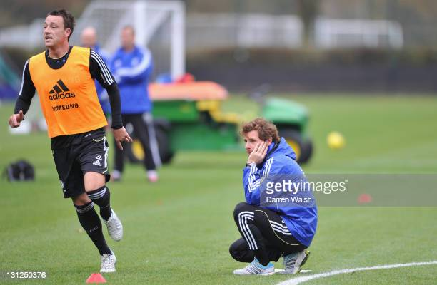 John Terry, Andre Villas-Boas of Chelsea during a training session at the Cobham training ground on November 3, 2011 in Cobham, England.