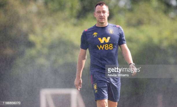 John Terry, assistant coach of Aston Villa in action during a training session at the Aston Villa Bodymoor Heath training ground on August 08, 2019...