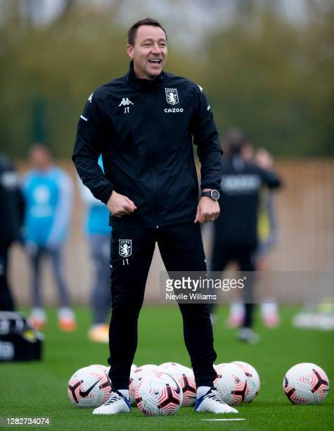 John Terry assistant coach of Aston Villa in action during a training session at Bodymoor Heath training ground on October 28, 2020 in Birmingham,...