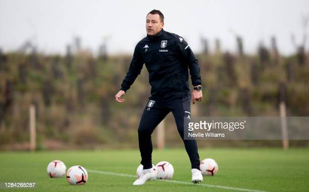 John Terry assistant coach of Aston Villa in action during a training session at Bodymoor Heath training ground on November 06, 2020 in Birmingham,...
