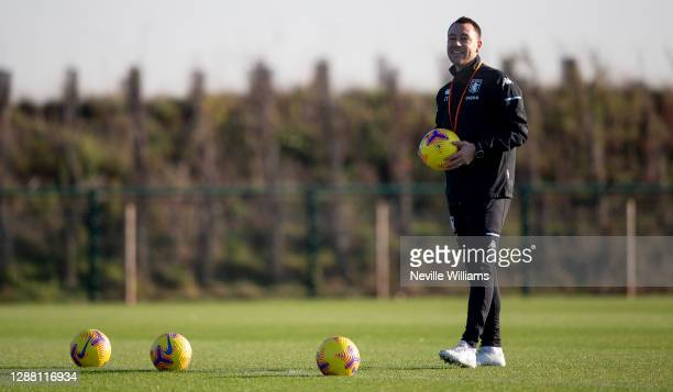 John Terry assistant coach of Aston Villa in action during a training session at Bodymoor Heath training ground on November 26 2020 in Birmingham...