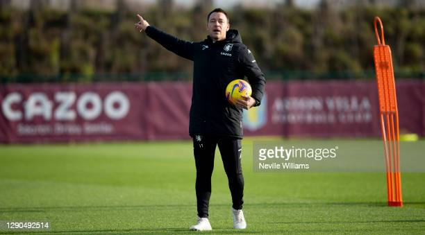 John Terry assistant coach of Aston Villa in action during a training session at Bodymoor Heath training ground on December 08, 2020 in Birmingham,...