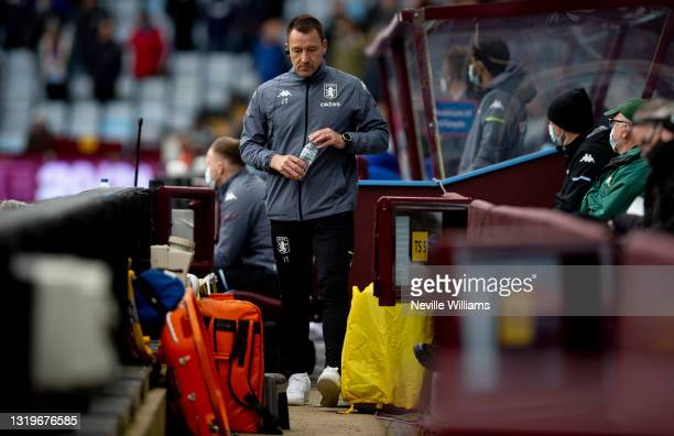 John Terry assistant coach of Aston Villa in action during the Premier League match between Aston Villa and Chelsea at Villa Park on May 23, 2021 in...