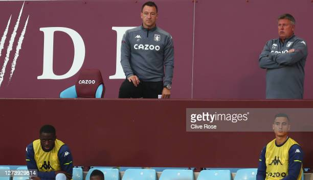 John Terry, Assistant Head Coach of Aston Villa looks on from the stands during the Premier League match between Aston Villa and Sheffield United at...