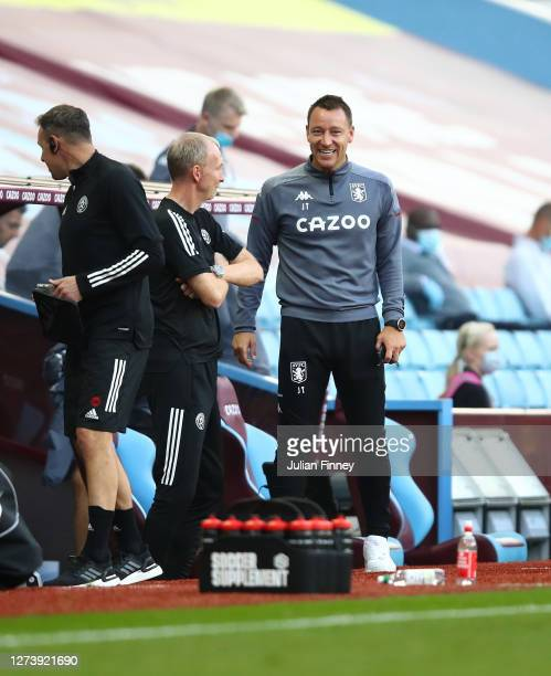 John Terry, Assistant Head Coach of Aston Villa reacts prior to the Premier League match between Aston Villa and Sheffield United at Villa Park on...