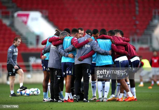 John Terry, Assistant Head Coach of Aston Villa speaks to Aston Villa players prior to the Carabao Cup third round match between Bristol City and...