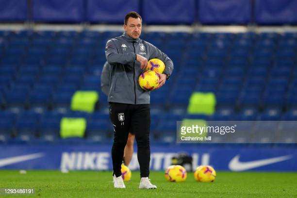 John Terry, assistant manager of Aston Villa looks on ahead of the Premier League match between Chelsea and Aston Villa at Stamford Bridge on...