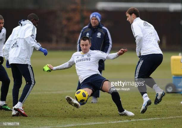 John Terry Branislav Ivanovic of Chelsea during a training session at the Cobham training ground on January 4 2011 in Cobham England