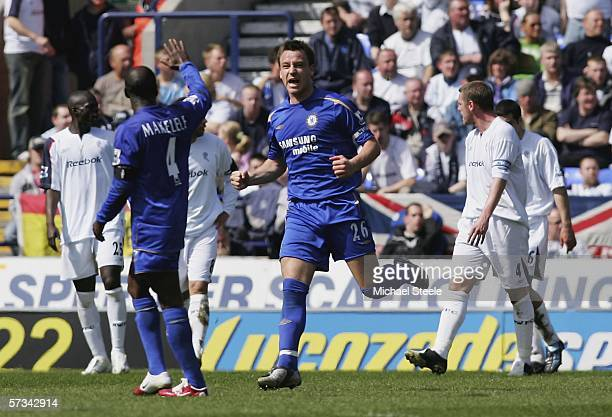 John Terry celebrates Chelsea's first goal during the Barclays Premiership match between Bolton Wanderers and Chelsea at the Reebok Stadium on April...