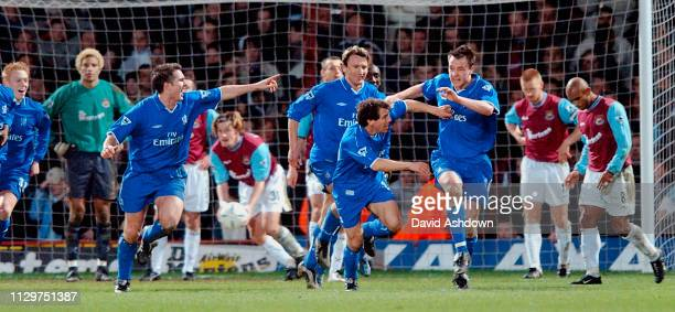John Terry celebrates with the team after scoring the winning goal West Ham v Chelsea at Upton Park FA Cup 4th round replay 6th Feb 2002.