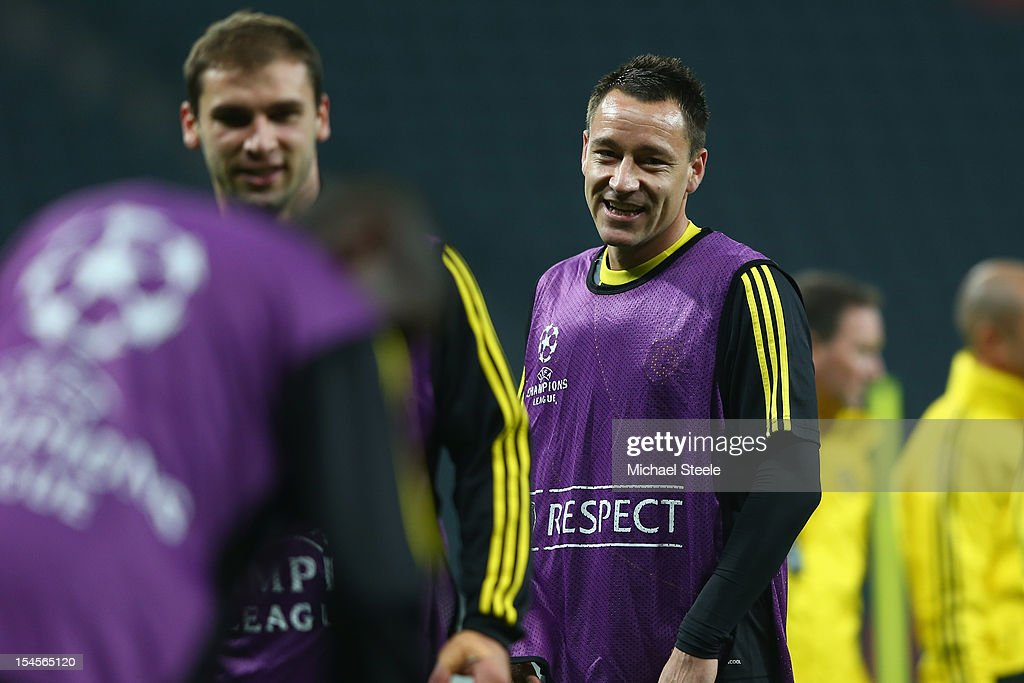 John Terry (R) during the Chelsea Training session ahead of the UEFA Champions League Group E match between Shakhtar Donetsk and Chelsea at Donbass Arena on October 22, 2012 in Donetsk, Ukraine.