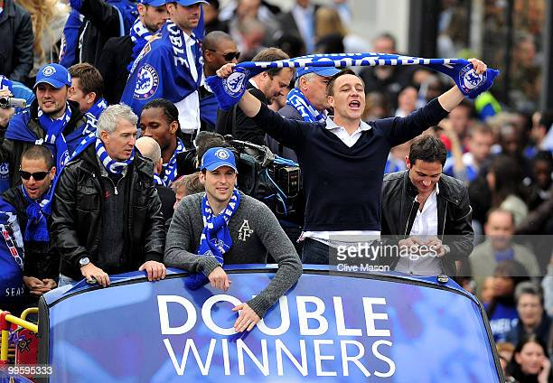 John Terry Frank Lampard and the Chelsea Football Team parade their silverware on an open top bus on the Kings Road Chelsea on May 16 2010 in London...