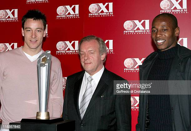 John Terry Gordon Taylor and Luis Boa Morte during Launch Of FIFPro World XI Player Awards at Home House in London Great Britain