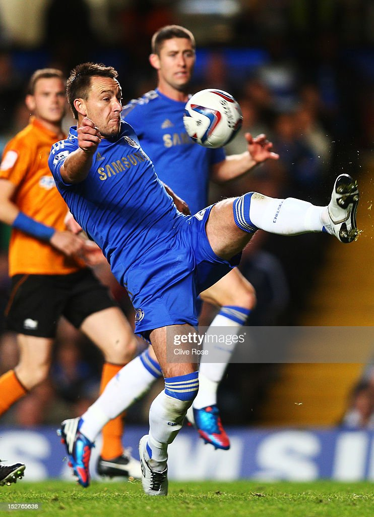 John Terry in action during the Capital One Cup third round match between Chelsea and Wolverhampton Wanderers at Stamford Bridge on September 25, 2012 in London, England.