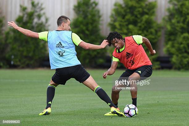John Terry Loic Remy at Chelsea Training Ground on July 13 2016 in Cobham England