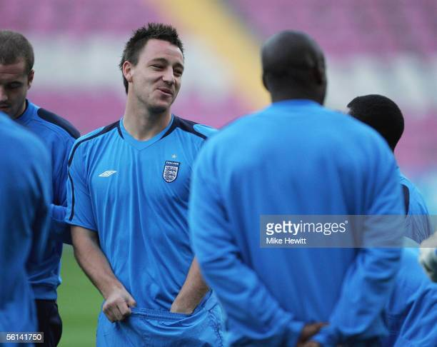 John Terry looks on during an England training session at the Stade de Geneve on November 11, 2005 in Geneva, Switzerland.