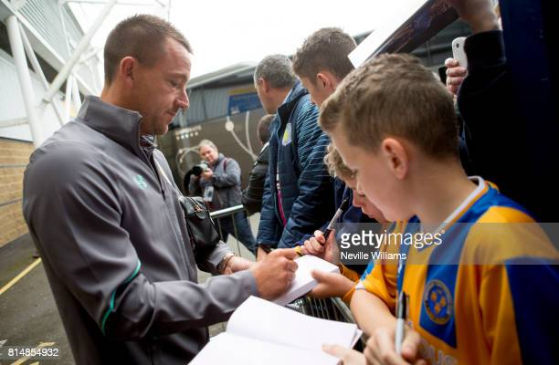 John Terry of Aston Villa arrives for the PreSeason Friendly match between Shrewsbury Town and Aston Villa at the Greenhous Meadow on July 15 2017 in...