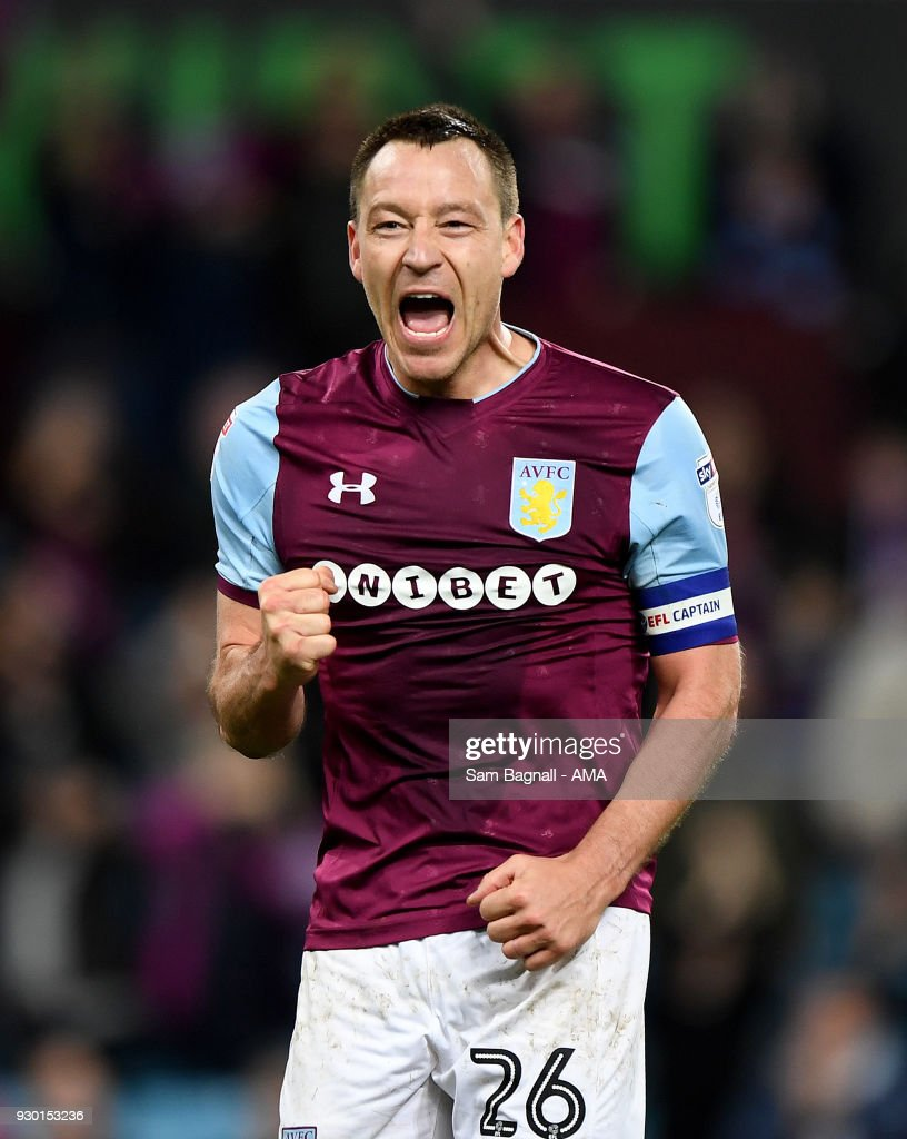 John Terry of Aston Villa celebrates at full time during the Sky Bet Championship match between Aston Villa and Wolverhampton Wanderers at Villa Park on March 10, 2018 in Birmingham, England.