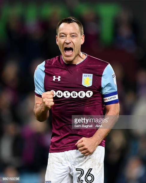 John Terry of Aston Villa celebrates at full time during the Sky Bet Championship match between Aston Villa and Wolverhampton Wanderers at Villa Park...