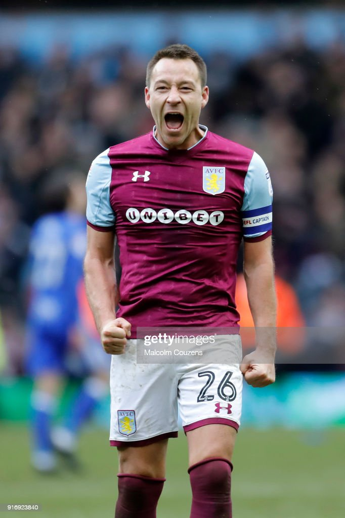 John Terry of Aston Villa celebrates following the Sky Bet Championship match between Aston Villa and Birmingham City at Villa Park on February 11, 2018 in Birmingham, England.