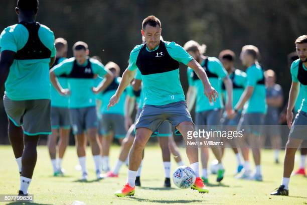 John Terry of Aston Villa in action during a Aston Villa training session at the club's training camp at Faro on July 04 2017 in Faro Portugal