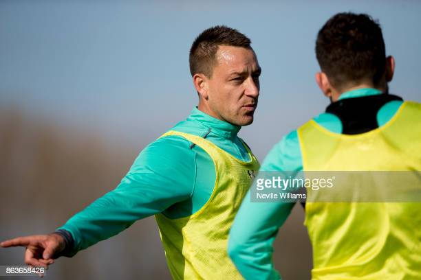 John Terry of Aston Villa in action during a training session at the club's training ground at Bodymoor Heath on October 20 2017 in Birmingham England