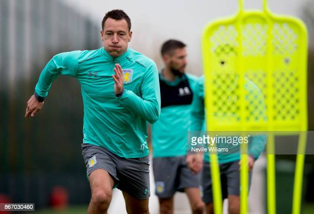 John Terry of Aston Villa in action during a training session at the club's training ground at Bodymoor Heath on October 26 2017 in Birmingham England
