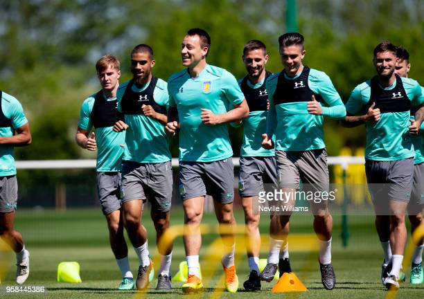 John Terry of Aston Villa in action during a training session at the club's training ground at The Recon Training Complex on May 14 2018 in...